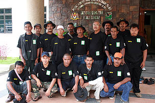Members of the community-based wildlife patrol unit attending training at the Biodiversity Institute in Pahang