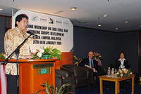 Parliamentary Secretary, Ministry of Natural Resources and Environment (Malaysia), launching the workshop