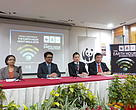 (From left to right) Head of Policy and Climate Change for WWF-Malaysia, Lavanya Rama Iyer; Deputy Mayor of Petaling Jaya City Council (MBPJ), Tuan Johary bin Anuar; Centre Manager of Sunway Giza Mall, Albert Cheok; and Director of MBPJ Department of Solid Waste Management and Public Cleansing, Lee Lih Shyan, at the official press conference of Earth Hour 2018 in Petaling Jaya today.