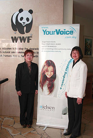 Nielsen Malaysia Customised Research Executive Director Ms Lee Joo Lee (left) with WWF-Malaysia Director of Marketing Ms Choon Bow Bow.