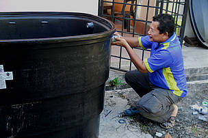 Rainwater harvesting tank being prepared for implementation