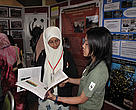 WWF staff spreading awareness on its turtle conservation work in Terengganu to INSTEP staff at the exhibition booth